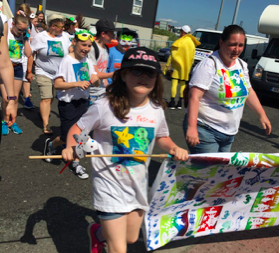 Art workshops created costumes for the Newhaven Fish Festival Parade sponsored by Rampion