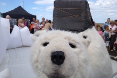 Animatronic polar bear helps launch Sheringham Shoal to the local community in Wells-next-the-Sea